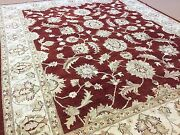 8and039.1 X 9and039.9 Red Beige Ziegler All-over Floral Oriental Area Wool Rug Handmade