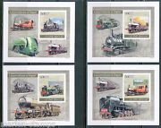 Guinea Bissau Steam Engine Trains Set Of 4 Deluxe S/s Hard Card Official Issue