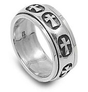 Sterling Silver Womans Mens Heavy Cross Ring Wholesale 925 Band 9mm Sizes 5-15
