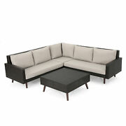 Tonga Outdoor Wicker Sofa Set With Water Resistant Cushions