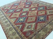 8and039.4 X 10and039.1 Red Beige Very Fine Geometric Oriental Rug Hand Knotted Wool