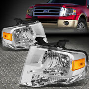 For 07-14 Ford Expedition Chrome Housing Amber Corner Headlight Replacement Lamp