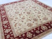 6and039.10 X 8and039.3 Beige Red Fine Oushak All-over Oriental Area Rug Handknotted Wool