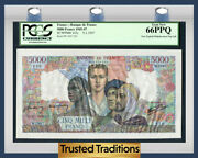 Tt Pk 103c 1945-47 France 5000 Francs Pcgs 66 Ppq Finest Known In This Series