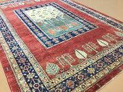 5and039.10 X 8and039.8 Red Navy Blue Fine Oushak Oriental Area Rug Hand Knotted Wool