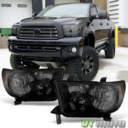 For 2007-2013 Toyota Tundra 08-17 Sequoia Blk Smoke Headlights Lamps Left+right