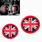 73mm Red Union Jack Uk Flag Style Coasters For Mini Cooper Front Cup Holders