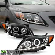 For Black 2009-2010 Toyota Corolla Led Projector Halo Headlights Lamp Left+right