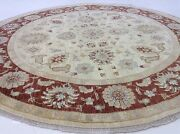 8'.1 X 8'.2 Beige Rust Oushak Oriental Area Rug Round Hand Knotted Wool Foyer