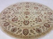 7'.11 X 7'.11 Round Ivory Rust Fine Agra Oriental Rug Hand Knotted Wool Foyer