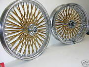 Mammoth Fat 52 Gold Spoke Wheels Harley 16x3.5 16x3.5 Softail Heritage Deluxe
