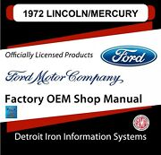 1972 Lincoln Mercury Continental Mark Iv Cougar Shop Manuals And Parts Books Cd