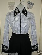 Woman Janelle White And Silver Rail Glamor Reining Trail Pleasure Rodeo Shirt