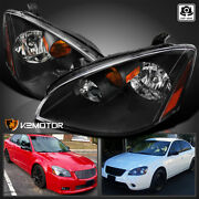 For 2002-2004 Nissan Altima Black Headlights Head Lamps Left+right Pair 02 03 04