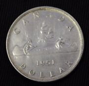 1951 Canada Silver Dollar Arn 1 1/2 Water Line Cleaned