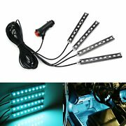 4pc 5 Ice Blue Smd Led Ambient Styling Lighting Kit For Car Interior Decoration