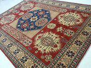 7and039and039.1 X 9and039.10 Red Fine Traditional Geometric Kazak Oriental Rug Hand Knotted