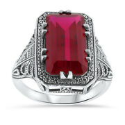 Art Deco Antique Style 925 Sterling Silver 7 Ct Lab Ruby Ring Jewelry    13