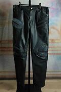 1950 New With Tags Roberto Cavalli Navy Blue Suede Leather Biker Pants Medium