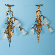 Pair Of Large Antique 19th Century Victorian Brass Wall Sconces
