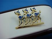 Vintage 18k Yellow Gold 3 Bambi Handmade Brooch With Enamel Accents, 4.5 Grams