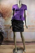 3000 New Christian Dior Purple Cotton Peplum Stretchy Fitted Shirt Jacket 6 38