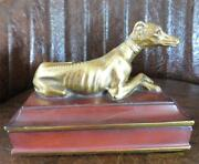 Antique Gold Gilded Ceramic Greyhound Whippet 2-partition Trinket Ring Box