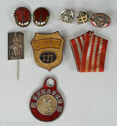 9 Various Vintage Chinese And Korean Pins And Medals Running Unknown