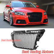 Rs3 Style Front Grille Gloss Black Frame + Honeycomb Fits 09-13 Audi A3 S3 8p