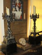Large Antique Gothic Candle Stands 1920and039s Custom Made One Of A Kind
