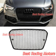 Rs5 Style Front Grille Gloss Black Frame + Honeycomb Fit 13-17 Audi A5 S5 B8.5
