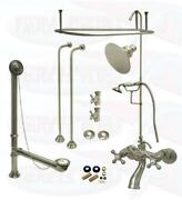Satin Brushed Nickel Clawfoot Tub Faucet Kit - With Two Extra Cieling Mounts