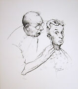 Norman Rockwell Hand Signed 1974 Original Lithograph - At The Barber
