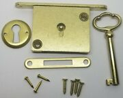 Chest Lid Lock Set Brass Plated Steel Full Mortise Large Key Cover Plate Antique