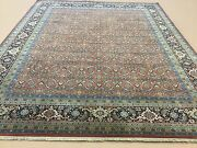 8and039 X 10and039 Rust Navy Very Fine Geometric Oriental Rug Hand Knotted Wool All-over