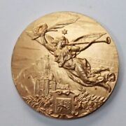 Old Gilded Solid Bronze Art Medal Flying Angel With Trumpet / 50 Mm / 142