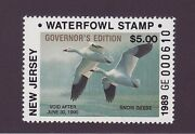 Nj  1989  New Jersey State Duck Stamp  Governor Edition   Dss