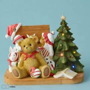 Cherished Teddies Figurine Christopher With Toys And Tree Lighted Musical 4053470