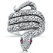 Genuine Ruby Antique Victorian Design 925 Sterling Silver Snake Ring Size 5,221