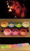 Seven Pieces A Set Of Glaze Crystal Tibet Lamps Candle Holders Altar Must