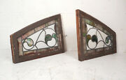 Pair Of Vintage Antique Stained Glass Windows 8605nj