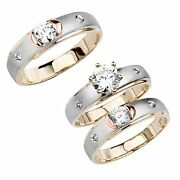 Tri-color 14k Gold Round Ring Man Mad Menand039s And Womenand039s Wedding Band 3piece Set