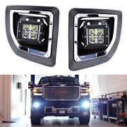 40w Cree Led Pods W/foglight Cover Bracket Mounts Relay For 15-19 Gmc 2500 3500