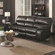 Dark Brown Leatherette Reclining Drop Down Console Sofa Living Room Furniture