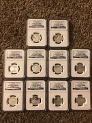 2011 And 2012 Silver Quarter 5 Coin Proof Ngc Pf70 Early Releases Blue Label 25c