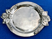 Granada Polished Silver Metal Serving Platter/w Handles Made In Mexico 12.5 Dia