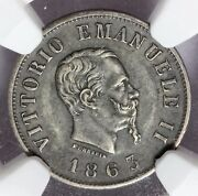 1863-t Bn Italy 50 Centesimi Shield Reverse Silver Coin - Ngc Au 53 - Km 4a.2