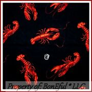 Boneful Fabric Fq Cotton Quilt Black Red Large Lobster Fish Ocean Beach Seafood