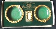 Princess House Exclusive 2 Gold Tone Ashtrays And 1 Match Box New Old Stock Iob