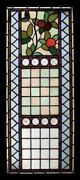 English Art Nouveau Floral Antique Stained Glass Window Adorned With Rondels